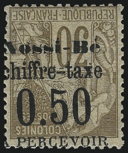 Sale Number 1049, Lot Number 2041, Nossi-BeNOSSI-BE, 1891, 50c on 30c Brown on Bister, Postage Due, Inverted Surcharge (J3a; Yvert TT3a), NOSSI-BE, 1891, 50c on 30c Brown on Bister, Postage Due, Inverted Surcharge (J3a; Yvert TT3a)