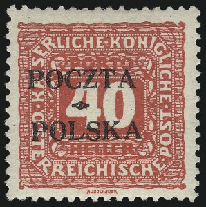 Sale Number 1049, Lot Number 2047, PolandPOLAND, 1919, 40h Rose Red, Postage Due, Krakow Overprint (J7; Michel 7), POLAND, 1919, 40h Rose Red, Postage Due, Krakow Overprint (J7; Michel 7)