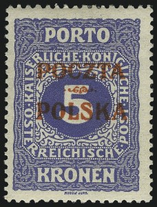 Sale Number 1049, Lot Number 2049, PolandPOLAND, 1919, 5k Ultramarine, Postage Due, Krakow Overprint (J9; Michel 9), POLAND, 1919, 5k Ultramarine, Postage Due, Krakow Overprint (J9; Michel 9)