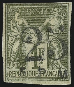 Sale Number 1049, Lot Number 2070, St. Pierre & MiquelonST. PIERRE & MIQUELON, 1885, 25c on 1fr Bronze Green on Straw (8; Yvert 3), ST. PIERRE & MIQUELON, 1885, 25c on 1fr Bronze Green on Straw (8; Yvert 3)