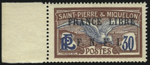 Sale Number 1049, Lot Number 2077, St. Pierre & MiquelonST. PIERRE & MIQUELON, 1942, 30c Red Brown & Blue, F.N.F.L. Ovpt. (206D; Yvert 233), ST. PIERRE & MIQUELON, 1942, 30c Red Brown & Blue, F.N.F.L. Ovpt. (206D; Yvert 233)