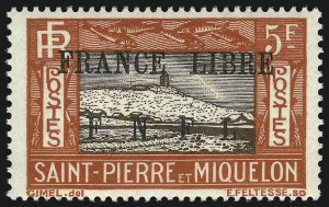 Sale Number 1049, Lot Number 2080, St. Pierre & MiquelonST. PIERRE & MIQUELON, 1942, 5fr Brown Red & Dark Brown, F.N.F.L. Ovpt. (216; Yvert 244), ST. PIERRE & MIQUELON, 1942, 5fr Brown Red & Dark Brown, F.N.F.L. Ovpt. (216; Yvert 244)