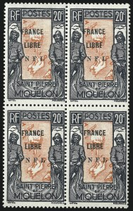 Sale Number 1049, Lot Number 2082, St. Pierre & MiquelonST. PIERRE & MIQUELON, 1942, 20c Black & Red Orange, F.N.F.L. Ovpt. (216A; Yvert 285), ST. PIERRE & MIQUELON, 1942, 20c Black & Red Orange, F.N.F.L. Ovpt. (216A; Yvert 285)