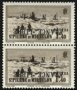 Sale Number 1049, Lot Number 2095, St. Pierre & MiquelonST. PIERRE & MIQUELON, 1942, 1.40fr Dark Brown, F.N.F.L. Ovpt., Inverted Ovpt. (241 var; Yvert 265A), ST. PIERRE & MIQUELON, 1942, 1.40fr Dark Brown, F.N.F.L. Ovpt., Inverted Ovpt. (241 var; Yvert 265A)