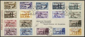 "Sale Number 1049, Lot Number 2099, St. Pierre & MiquelonST. PIERRE & MIQUELON, 1941, 10c-3fr Red ""Noel 1941"" Ovpts. (260-77; Yvert 212A-229A), ST. PIERRE & MIQUELON, 1941, 10c-3fr Red ""Noel 1941"" Ovpts. (260-77; Yvert 212A-229A)"