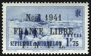 Sale Number 1049, Lot Number 2101, St. Pierre & MiquelonST. PIERRE & MIQUELON, 1941, 1.75fr Bright Blue, F.N.F.L. Ovpt. in Black (293; Yvert 225B), ST. PIERRE & MIQUELON, 1941, 1.75fr Bright Blue, F.N.F.L. Ovpt. in Black (293; Yvert 225B)