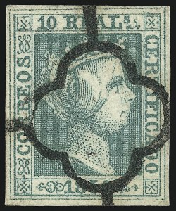 Sale Number 1049, Lot Number 2127, SpainSPAIN, 1850, 10r Green (5; Michel 5), SPAIN, 1850, 10r Green (5; Michel 5)