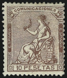 Sale Number 1049, Lot Number 2130, SpainSPAIN, 1873, 10p Violet Brown (200; Michel 134), SPAIN, 1873, 10p Violet Brown (200; Michel 134)