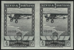 Sale Number 1049, Lot Number 2133, SpainSPAIN, 1929, 5c-4p Seville-Barcelona Exposition, Air Post, Imperforate (C6-11 var; Michel 422U-27U), SPAIN, 1929, 5c-4p Seville-Barcelona Exposition, Air Post, Imperforate (C6-11 var; Michel 422U-27U)