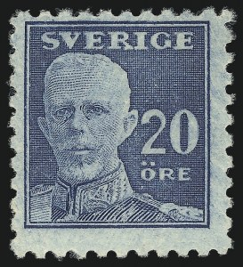 Sale Number 1049, Lot Number 2149, Sweden thru SyriaSWEDEN, 1920, 20o Blue, Perf on All Four Sides, Watermark Wavy Lines (144; Facit 151Ccx), SWEDEN, 1920, 20o Blue, Perf on All Four Sides, Watermark Wavy Lines (144; Facit 151Ccx)