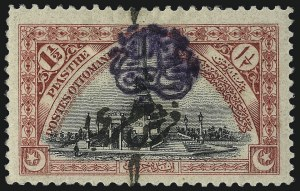 Sale Number 1049, Lot Number 2156, Sweden thru SyriaSYRIA, ISSUES OF THE ARABIAN GOVERNMENT, 1919, 1pi on 1-1/2pi Carmine & Black, SYRIA, ISSUES OF THE ARABIAN GOVERNMENT, 1919, 1pi on 1-1/2pi Carmine & Black