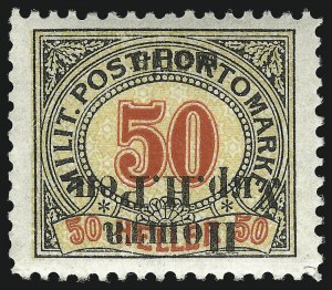 Sale Number 1049, Lot Number 2199, Western UkraineWESTERN UKRAINE, 1919, 50sh on 50h Black, Red & Yellow, Inverted Surcharge (40a; Michel 40 var), WESTERN UKRAINE, 1919, 50sh on 50h Black, Red & Yellow, Inverted Surcharge (40a; Michel 40 var)