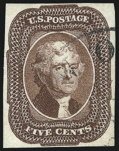 Sale Number 1050, Lot Number 112, 3c-12c 1851-56 Issue (Scott 10-17)5c Red Brown (12), 5c Red Brown (12)