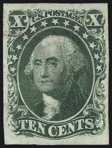 Sale Number 1050, Lot Number 117, 3c-12c 1851-56 Issue (Scott 10-17)10c Green, Ty. IV (16), 10c Green, Ty. IV (16)