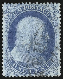 Sale Number 1050, Lot Number 124, 1c-3c 1857-60 Issue (Scott 18-26A)1c Blue, Ty. I (18), 1c Blue, Ty. I (18)