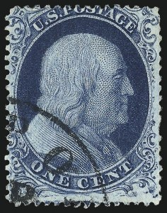 Sale Number 1050, Lot Number 125, 1c-3c 1857-60 Issue (Scott 18-26A)1c Blue, Ty. II (20), 1c Blue, Ty. II (20)