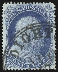 Sale Number 1050, Lot Number 126, 1c-3c 1857-60 Issue (Scott 18-26A)1c Blue, Ty. II (20), 1c Blue, Ty. II (20)