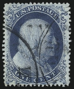Sale Number 1050, Lot Number 128, 1c-3c 1857-60 Issue (Scott 18-26A)1c Blue, Ty. IIIa (22), 1c Blue, Ty. IIIa (22)