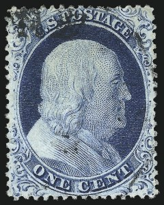 Sale Number 1050, Lot Number 130, 1c-3c 1857-60 Issue (Scott 18-26A)1c Blue, Ty. IV (23), 1c Blue, Ty. IV (23)