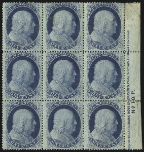 Sale Number 1050, Lot Number 133, 1c-3c 1857-60 Issue (Scott 18-26A)1c Blue, Ty. V (24), 1c Blue, Ty. V (24)