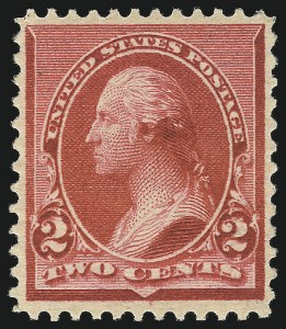 "Sale Number 1050, Lot Number 327, 1875-88 Bank Note Issues, 1890-93 Issue (Scott 178-229)2c Carmine, Cap on Both ""2""'s (220c), 2c Carmine, Cap on Both ""2""'s (220c)"