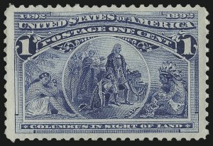 Sale Number 1050, Lot Number 333, 1c-50c 1893 Columbian Issue (Scott 230-240)1c Columbian (230), 1c Columbian (230)