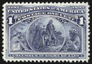 Sale Number 1050, Lot Number 334, 1c-50c 1893 Columbian Issue (Scott 230-240)1c Columbian (230), 1c Columbian (230)