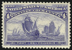 Sale Number 1050, Lot Number 340, 1c-50c 1893 Columbian Issue (Scott 230-240)4c Columbian (233), 4c Columbian (233)