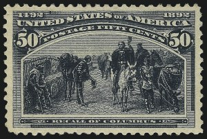 Sale Number 1050, Lot Number 363, 1c-50c 1893 Columbian Issue (Scott 230-240)50c Columbian (240), 50c Columbian (240)