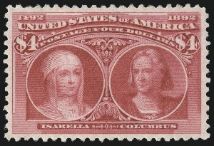 Sale Number 1050, Lot Number 386, $1.00-$5.00 1893 Columbian Issue (Scott 241-245)$4.00 Columbian (244), $4.00 Columbian (244)