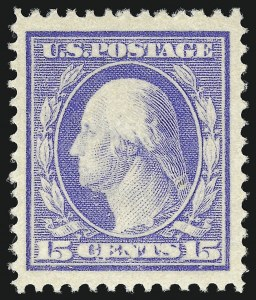 Sale Number 1050, Lot Number 510, 1908-12 Issues (Scott 331-395)15c Pale Ultramarine (382), 15c Pale Ultramarine (382)