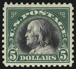 Sale Number 1050, Lot Number 628, 1916-22 Issues (Scott 486-547)$5.00 Deep Green & Black (524), $5.00 Deep Green & Black (524)