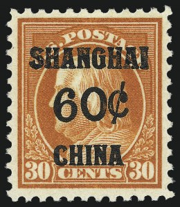 Sale Number 1050, Lot Number 761, Special Delivery, Postage Due, Offices in China (Scott E, J, K)60c on 30c Offices in China (K14), 60c on 30c Offices in China (K14)