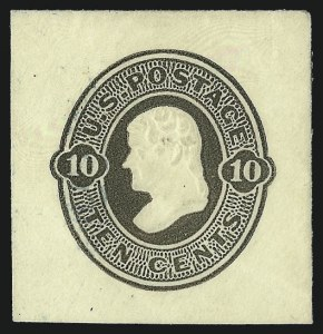 Sale Number 1050, Lot Number 786, Postal Stationery (Scott U, UO, UX)10c Olive Black on Amber, Die 39, Full Corner (U90), 10c Olive Black on Amber, Die 39, Full Corner (U90)