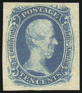 "Sale Number 1051, Lot Number 1733, Confederate States: General Issues off-Cover10c Blue, ""TEN"" (9), 10c Blue, ""TEN"" (9)"