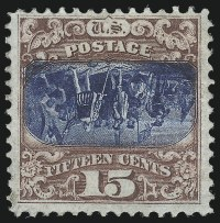 Sale Number 1052, Lot Number 1, 15c Brown & Blue, Ty. II, Center Inverted (119b)