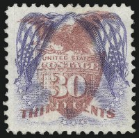 Sale Number 1052, Lot Number 2, 30c Ultramarine & Carmine, Flags Inverted (121b)