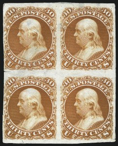 Sale Number 1053, Lot Number 112, 1861-66 Issues, National Bank Note Company30c Deep Red Orange, First Design, Plate Essay on India (71-E2b; formerly 61P3), 30c Deep Red Orange, First Design, Plate Essay on India (71-E2b; formerly 61P3)