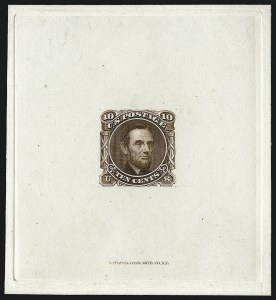 Sale Number 1054, Lot Number 317, Essays10c Lincoln, Die Essay on Proof Paper (116-E1c), 10c Lincoln, Die Essay on Proof Paper (116-E1c)