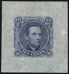 Sale Number 1054, Lot Number 319, Essays10c Blue, Lincoln Large Die Essay on Proof Paper (116-E1d), 10c Blue, Lincoln Large Die Essay on Proof Paper (116-E1d)