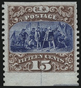 Sale Number 1054, Lot Number 560, 1875 Re-Issue of 1869 Pictorial Issue15c Brown & Blue, Re-Issue, Imperforate Horizontally (129a), 15c Brown & Blue, Re-Issue, Imperforate Horizontally (129a)