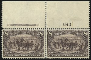 Sale Number 1056, Lot Number 341, Imprint and Plate Number Pairs and Strips8c Trans-Mississippi (289), 8c Trans-Mississippi (289)