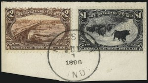 Sale Number 1056, Lot Number 436, Domestic and Foreign Uses, $1.00-$2.00 on Cover$1.00, $2.00 Trans-Mississippi (292-293), $1.00, $2.00 Trans-Mississippi (292-293)