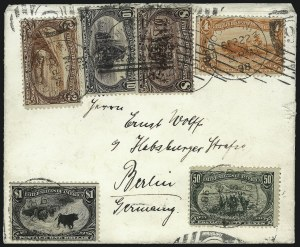 Sale Number 1056, Lot Number 439, Domestic and Foreign Uses, $1.00-$2.00 on Cover4c, 8c-$2.00 Trans-Mississippi (287, 289-293), 4c, 8c-$2.00 Trans-Mississippi (287, 289-293)