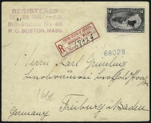 Sale Number 1056, Lot Number 442, Domestic and Foreign Uses, $1.00-$2.00 on Cover$1.00 Trans-Mississippi (292), $1.00 Trans-Mississippi (292)