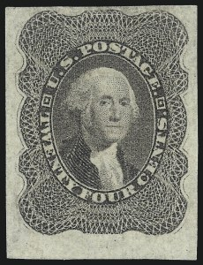 Sale Number 1057, Lot Number 593, 1857-60 Issue (Scott 18-39)24c Gray Lilac, Imperforate (37c), 24c Gray Lilac, Imperforate (37c)