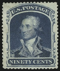 Sale Number 1057, Lot Number 597, 1857-60 Issue (Scott 18-39)90c Blue (39), 90c Blue (39)