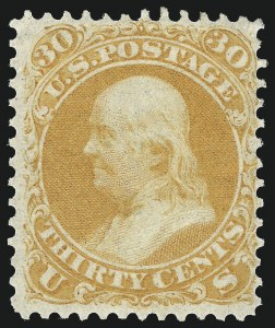 Sale Number 1057, Lot Number 629, 1861-66 Issue (Scott 56-78)30c Orange (71), 30c Orange (71)