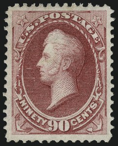 Sale Number 1057, Lot Number 734, 1870-71 National Bank Note Co. Ungrilled Issue (Scott 145-155)90c Carmine (155), 90c Carmine (155)