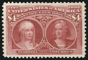 Sale Number 1057, Lot Number 831, 1893 Columbian Issue (Scott 230-245)$4.00 Columbian (244), $4.00 Columbian (244)